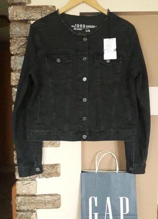 Брендовая джинсовая черная  курточка gap, сша, размер l, новая.