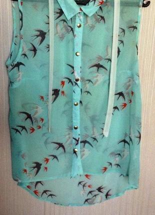 Блуза в актуальный принт с птичками