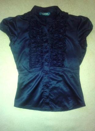 Шелковая черная блузка