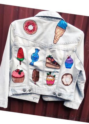 Оочень классная вкуссная джинсовая куртка ручная роспись