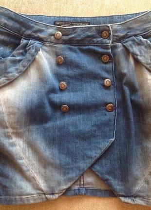 Юбка джинсовая на пуговицах с карманами