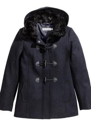 Новое шерстяное пальто от h&m с капюшоном