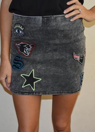 Модная джинсовая юбка h&m