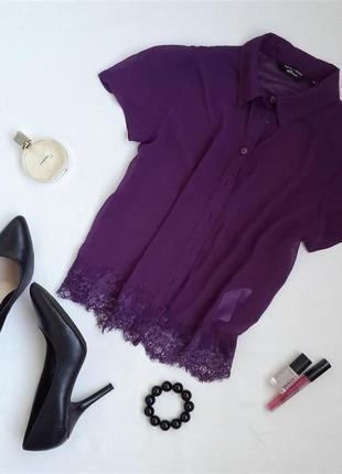 Укорочена шифонова блуза з мереживом від new look