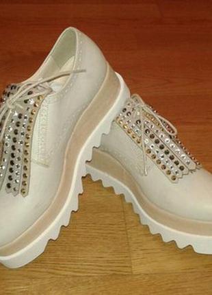 Туфли кожаные кремового цвета, италия, nila&nila
