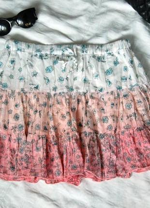 Легкая юбка c градиентом из натурального материала