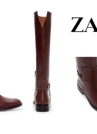 Высокие новые сапоги из натуральной кожи, 36р, zara basic