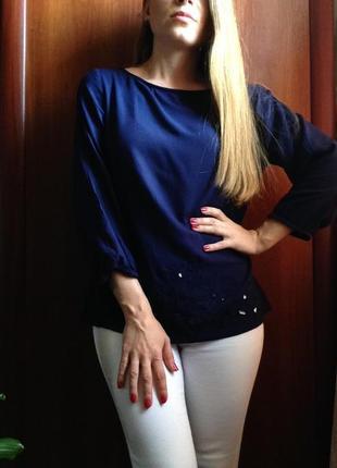 Блуза сорочка красивого синього кольору від f&f