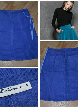 Брендовая ben sherman — британская компания, голубая, вельветовая, новая юбка
