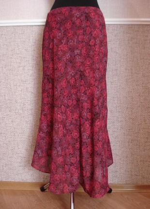Летняя шифоновая юбка с принтом