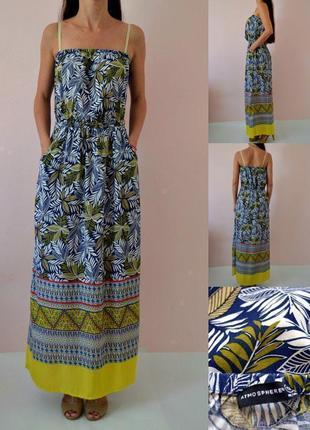 Поседневное хлоковое платье в пол с принтом