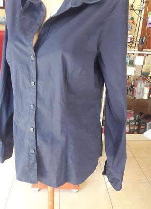 Темно-синяя рубашка h&m l-xl