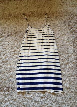 Плиссированое платье в полоску