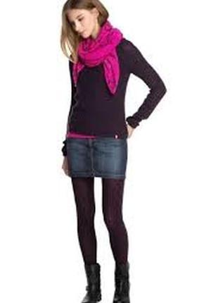 Молодежная летняя короткая джинсовая юбочка секси h&m как новая с оборванным низом