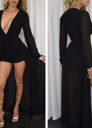 Шикарное платье в пол с разрезом
