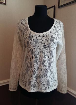 Стильная гипюровая кофта блуза famous