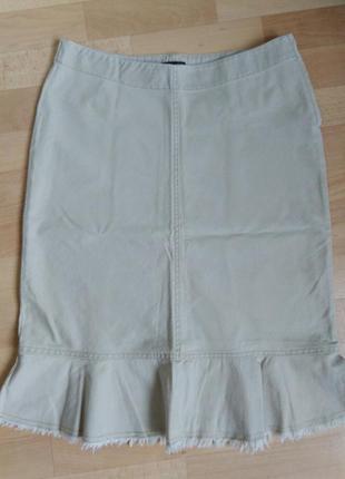 Джинсовая бежевая юбка h&m