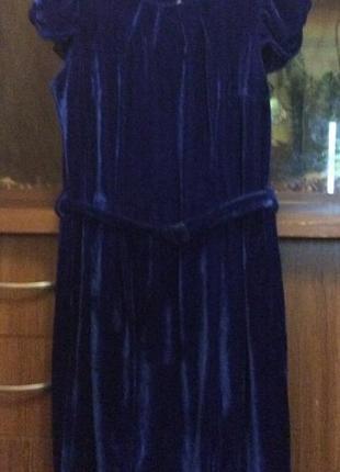 Платье бархат синее