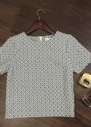 Стильная свободная чёрно белая блуза / футболка / кофта цветочный принт / фактурная/ сзади молния/