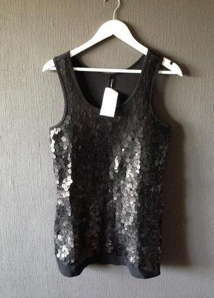 Майка топ блуза длинная черная платье паетки матовые стиль мода дизайн