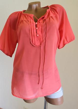 Милейшая розовая коралловая шиффоновая блуза от vero moda в размере m vero moda