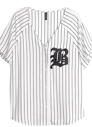 Бейсбольная спортивная блузка рубашка oversize в полоску
