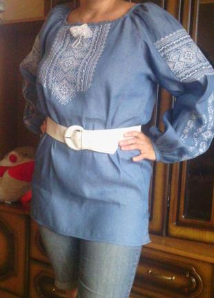 Вышиванка-туника голубой лен (длинный рукав) для высокой пышной красотки.(батал)