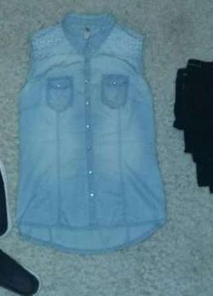 Джинсовая блузка с вышивкой очень нежная и женственная