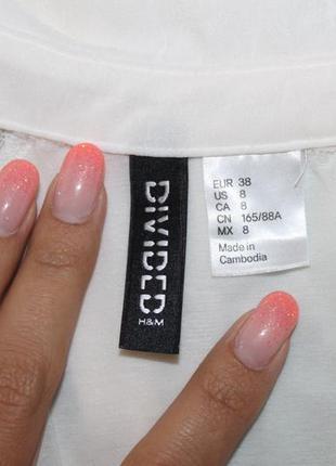 Шикарная белая воздушная легкая кружевная блуза шиффоновая размер s h&m