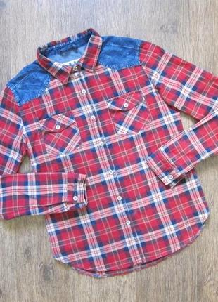 Рубашка с джинсовой оконтовкой
