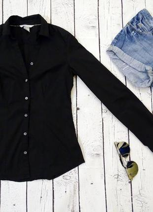 Черная рубашка h&m