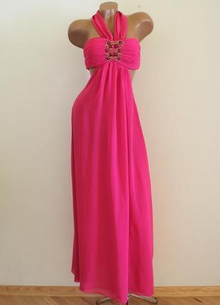 Великролепное яркое розовое платье в пол h&m фуксия, отделка камнями, шиффон, легкое струящееся h&m