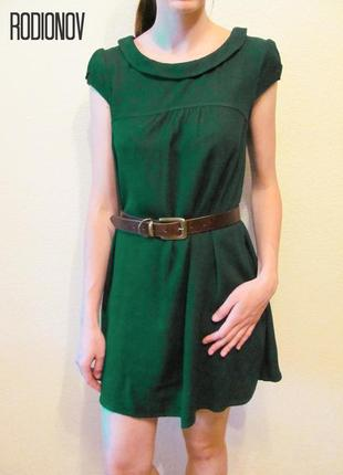 Темно-зеленое платье h&m, короткий рукав