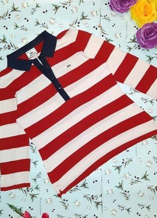 Фирменный свитер поло в полоску lacoste (айвори+красный), размер 44 - 46