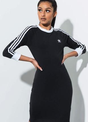 Новое! платье от адидас adidas адідас с лампасами черное спортивное
