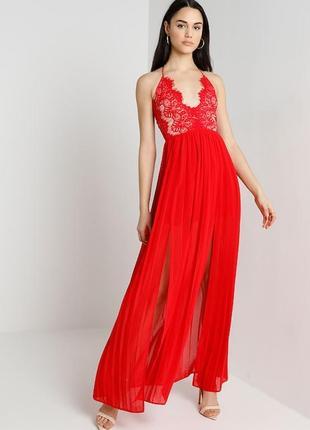 Новое нарядное красное платье на худышку в пол от rare london