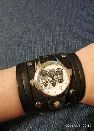 Часы кожаные сова стим панк