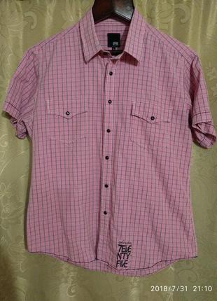 Брендовая мужская рубашка на кнопках. jack & jones