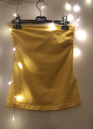 Летний стильный топ h&m желтого цвета