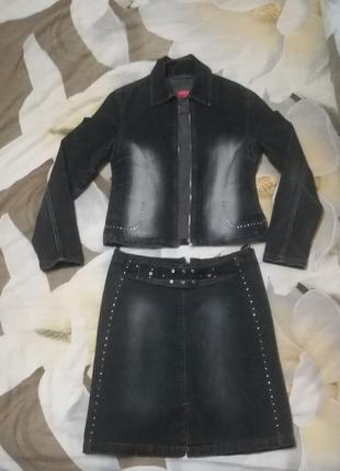 Стильный джинсовый костюм юбка пиджак