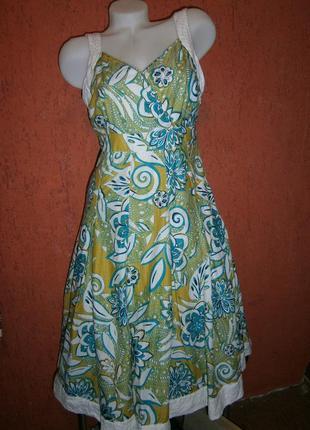 Длинный сарафан хлопок на подкладке расклешенная юбка