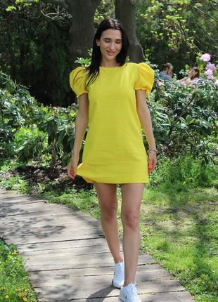 Льняное платье с рукавами фонариками