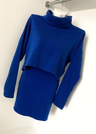 Синий электрик ангоровый женский костюм кофта с горлом юбка с высокой посадкой на резинке