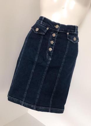 Облегающая женская джинсовая юбка по фигуре высокая завышенная посадка талия на пуговицах