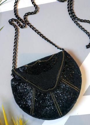 Красивый вечерний клатч с бисером маленькая сумочка на цепочке