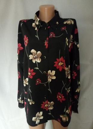 Красивая блуза, блузка, рубашка с шикарными цветами  №7bp