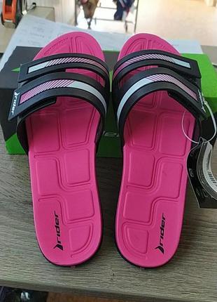 Женские шлёпанцы сланцы rider prana 82503-20753 black/pink