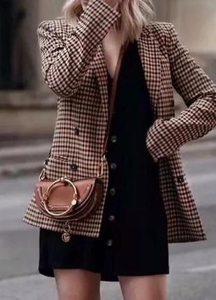 2019 модный клетчатый женский ретро пиджак с подплечниками.7 фото