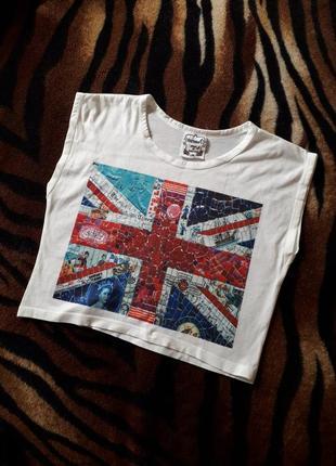Белый топ флаг англии майка с принтом широкие бретели футболка короткая
