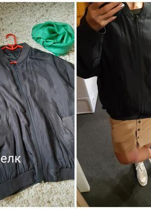 Шелковая легкая куртка/ветровка, бомбер, canda, p. 12-16